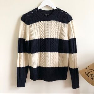J. Crew navy and white stripe cable knit sweater